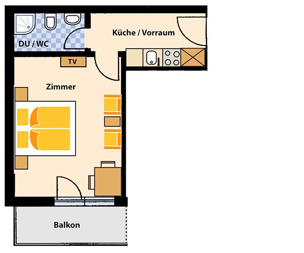 Appartement (Südseite) für 2 Personen ca. 32 m²