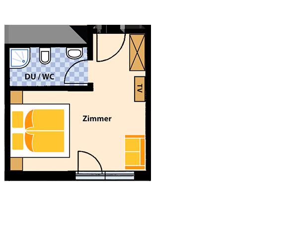 Doppelzimmer  für 2 Personen ca. 20 m² mit Frühstücksbüffet