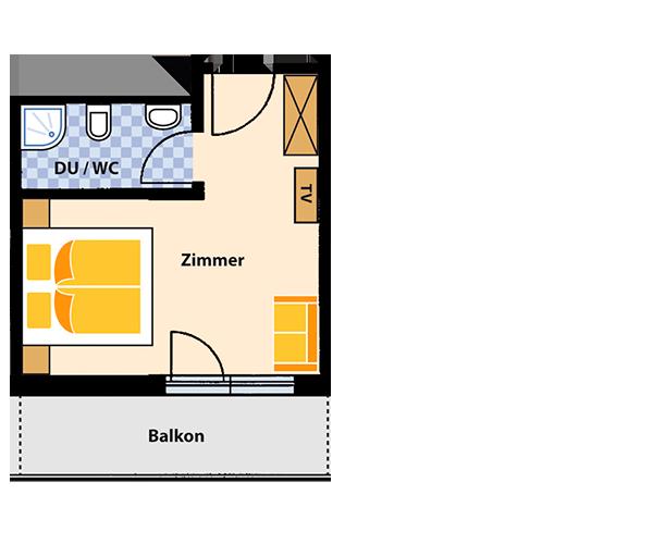 Doppelzimmer (Südseite) für 2 Personen ca. 20 m² mit Frühstücksbüffet