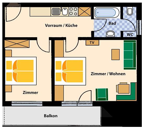 Appartement  für 4 Personen ca. 50 m²
